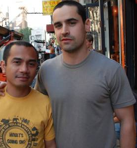 Yam on the set of The Echo with Jesse Bradford