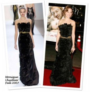 Hillary Swank in Monique Lhuillier